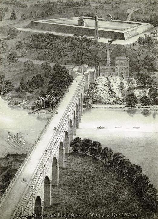 High Bridge and high service works & reservoir by New York City Parks Department - New York Public Library Digital Collection. Licensed under Public Domain via Wikimedia Commons