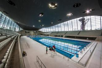 London aquatics centre at the Olympic Park. Photograph: David Levene for the Guardian